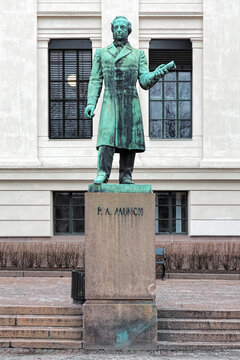 Statue of the Norwegian historian Peter Andreas Munch on the University Square in Oslo, Norway