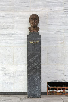 Bust of Hieronymus Heyerdahl in Main Hall of Oslo City Hall, Norway. He was a mayor of Oslo from 1911 to 1914 and developed the plans to build a new City Hall.