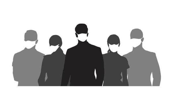 People wearing medical masks, set of isolated vector silhouettes. Group of men and women with respirators