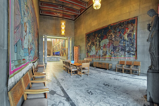 Hardrade Room in Oslo City Hall, Norway, dedicated to king Harald Hardrade, the city founder