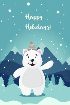 Polar bear on a winter background. Wish you happy holidays. For postcards, flyers, banners and websites.