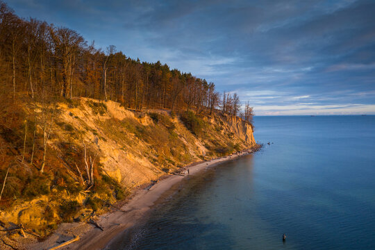 Aerial landscape of the Orlowo cliff at sunrise, Gdynia. Poland