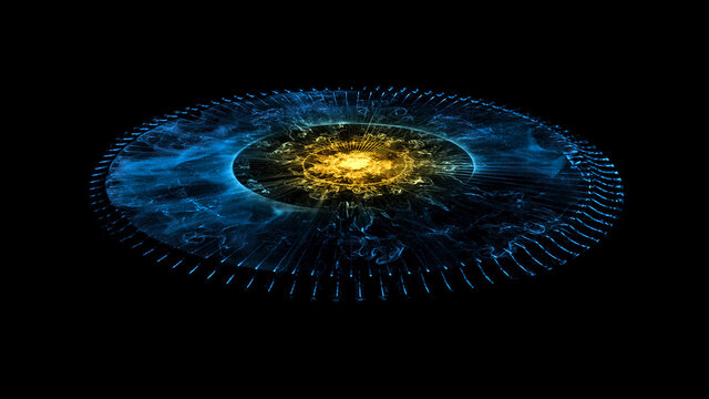 Glowing Stargate Event Horizon Portal. Time Travel, Outer Space, Singularity And Gravitational Waves Concept