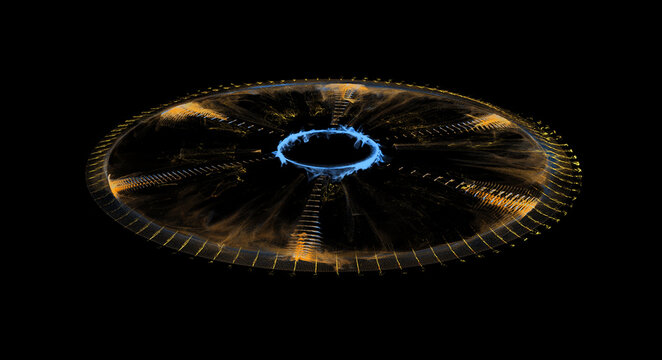 Futuristic Glowing Sci-Fi Element Isolated On Black Background