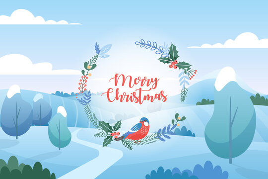 Vector illustration of winter landscape with Christmas greetings. Flat cartoon style. Merry Christmas and Happy New Year.