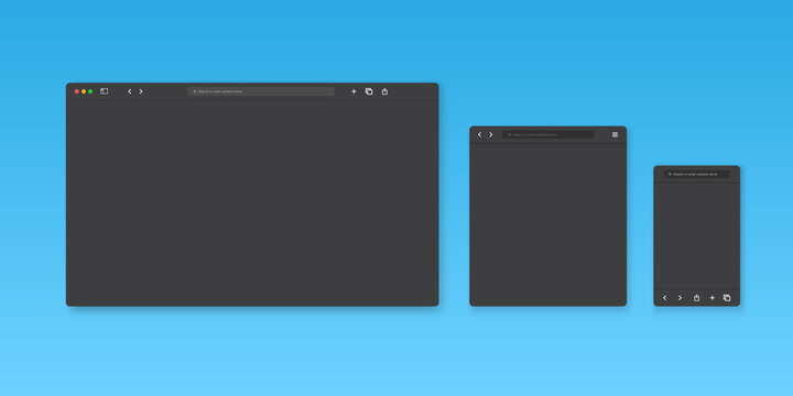 Web browser window template. Website browser different devices. Vector illustration