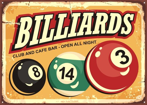 Billiard club and cafe bar retro sign idea with colorful snooker balls. Vintage vector illustration for one of the most popular games.