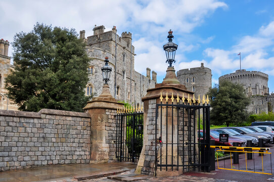 Walls and towers of Windsor Castle, London suburbs, UK