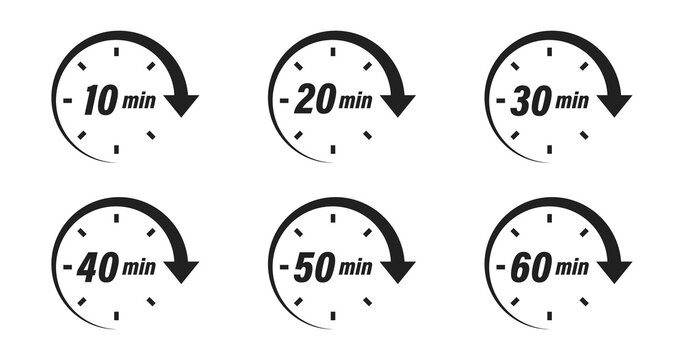 Minute timer icon collection. Vector time clock or stopwatch set.