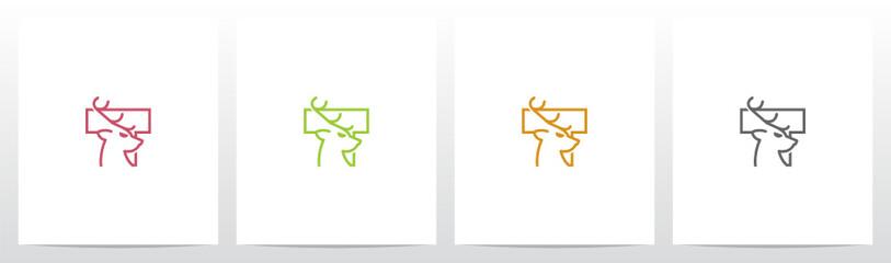 Deer Head On Letter Logo Design T