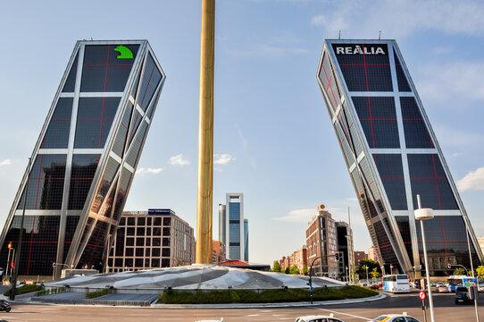 Madrid, Spain - June 2018: Gate of Europe (Puerta de Europa) - twin tilting office buildings in Madrid