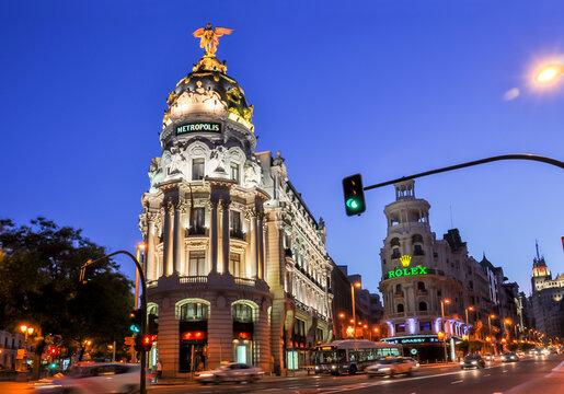 Madrid, Spain - June 2018: Gran Via (central street of Madrid) at night