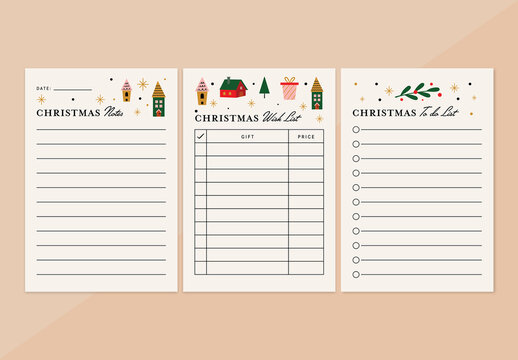 Christmas Notes and Lists Planner Layout