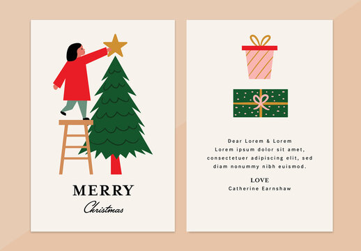 Merry Christmas Tree Greeting Card Layout