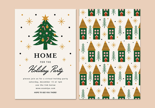 Virtual Holiday Party Layout Invitation with Christmas Tree
