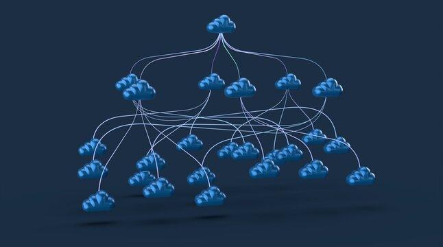 cloud data 3d digital blue