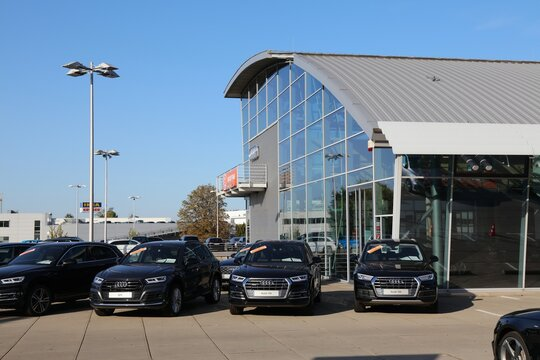 ESSEN, GERMANY - SEPTEMBER 20, 2020: Audi car brand dealership in Essen, Germany. There were 45.8 million cars registered in Germany (as of 2017).