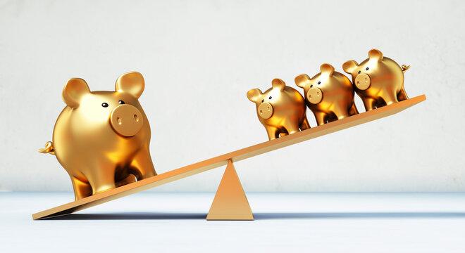Golden piggy bank seesaw in balance
