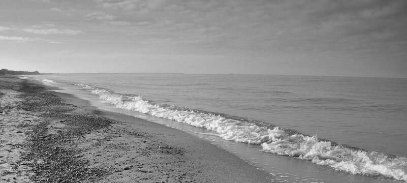 Sea beach in autumn in shades of gray