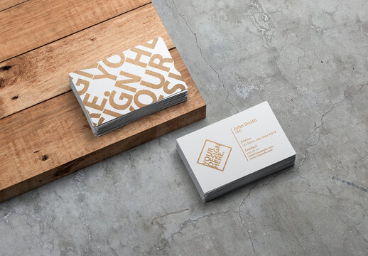 Two Stacks of White Business Cards Mockup