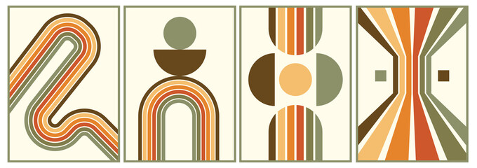 Obraz retro vintage 70s style stripes background poster lines. shapes vector design graphic 1970s retro background. abstract stylish 70s era line frame illustration - fototapety do salonu