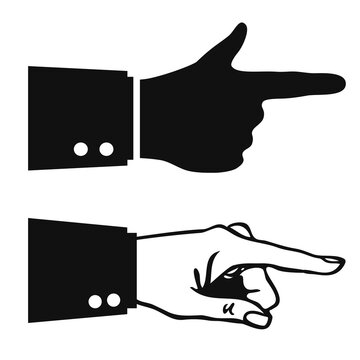 Hand with pointing finger vector icon