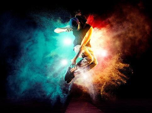 Hip-hop dance party. Man break dancing