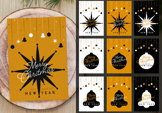 Set of Christmas Cards in Shades of Gold, Black and White