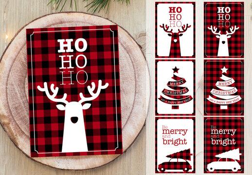 Buffalo Plaid Christmas Postcard Set