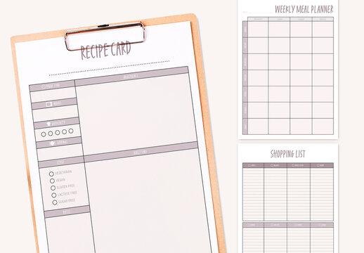 Purple Color  Weekly Meal Planner Kit