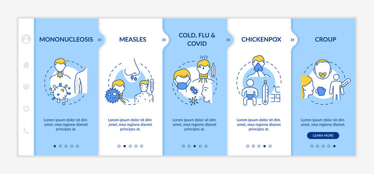 Viral throat inflammation causes onboarding vector template. Mononucleosis infection. Cold, flu and covid. Responsive mobile website with icons. Webpage walkthrough step screens. RGB color concept