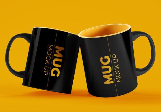 2 Mug Cups Mockup