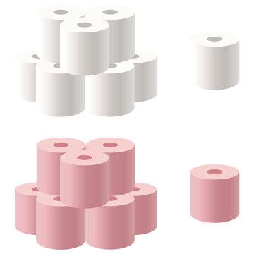 イラスト素材 トイレットペーパー アイコン 日用品 まとめ買い ベクター