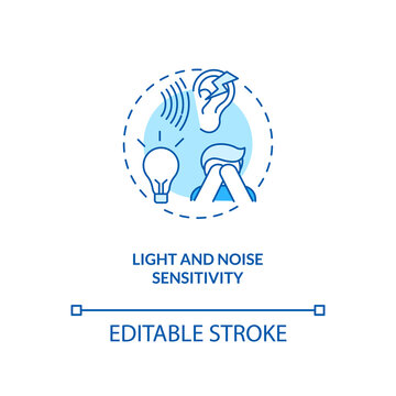 Light and noise sensitivity concept icon. Generalized hypervigilance idea thin line illustration. Strong intolerance to light. CFS symptom. Vector isolated outline RGB color drawing. Editable stroke