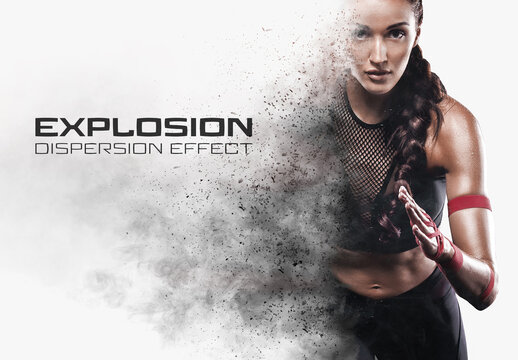 Dispersion Photo Effect with Explosion and Smoke Mockup