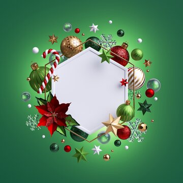 3d render, Christmas green background with glass balls. White hexagonal frame with blank copy space decorated with festive ornaments, poinsettia flower, candy cane, stars.
