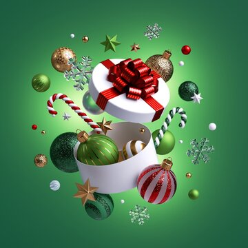 3d render, Christmas white gift box opened, ornaments flying out. Festive clip art isolated on green background. Seasonal decor: glass balls, stars, candy cane, snowflakes.
