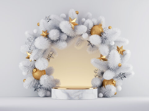 3d render, Christmas white gold background with empty marble pedestal platform and round frame decorated with frozen spruce twigs and ornaments. Seasonal showcase mockup for product presentation