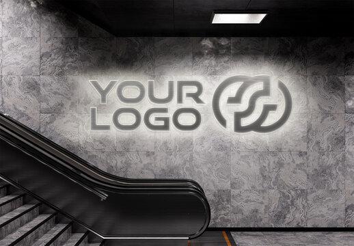 Luminous 3D Neon Sign Logo on Subway Station Wall Mockup