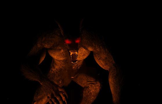 3d illustration of a glowing eyed Werewolf/Dogman illuminated by firelight