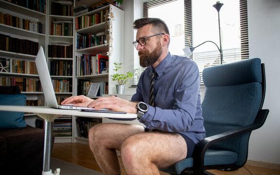 businessman working from home in underwear