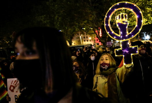 Turkish activists mark International Day for Violence Against Women, in Istanbul