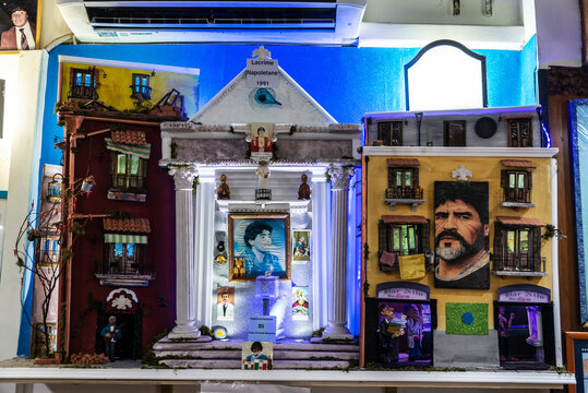 Altar dedicated to Maradona in a bar of Naples, Italy