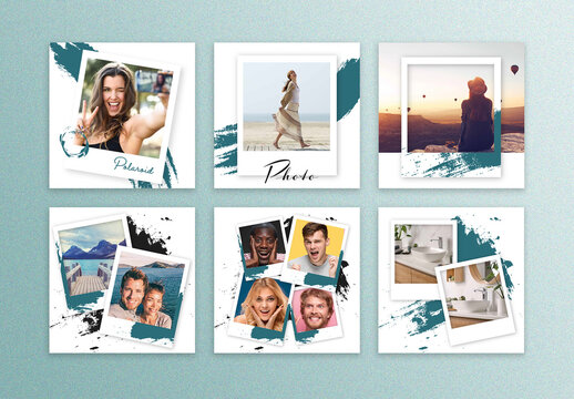 Social Media Layouts with Polaroid Photo Frames
