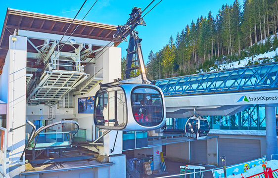 The lower station of Schmittenhohebahn cableway, on February 28 in Zell am See, Austria