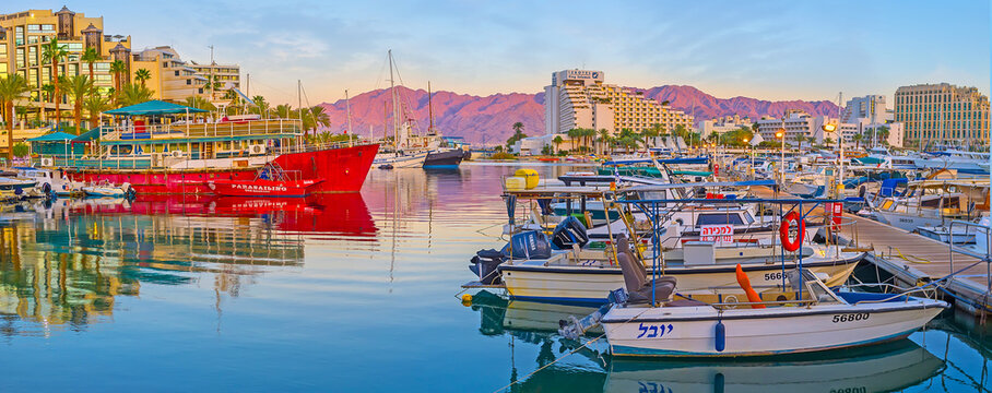 Panorama of the harbor at dusk, on Feb 23, 2016 in Eilat, Israel