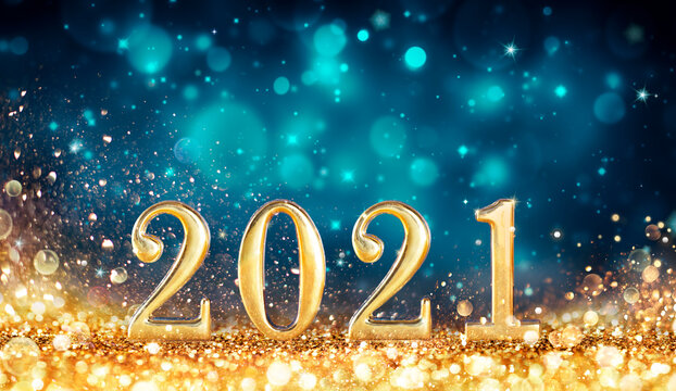 Abstract Card With Colors Trend - Happy New Years 2021 -  Metal Number With Golden Glitter