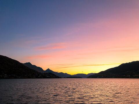 Sunset, Lake Wakatipu, Frankton, Queenstown, New Zealand