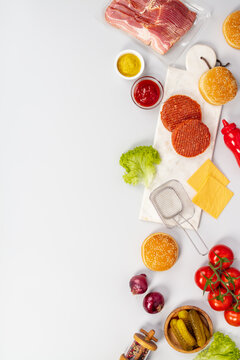 Ingredients for making Homemade hamburgers, flat lay, copy space