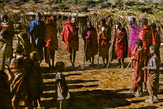 Serengeti, Tanzania - February 7, 1997. People from the Maasai tribe wearing typical clothes in the Serengeti. A national park in the African savanna. Oil paint filter.